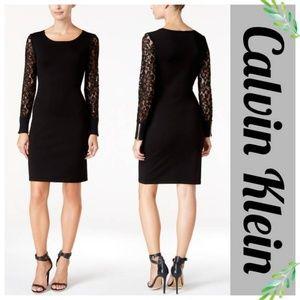 Calvin Klein Lace Illusion Sleeve Sweater Dress